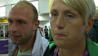 Robert Harting und Christina Obergföll in London angekommen